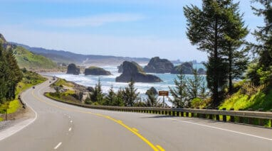 Views of the coastal road trip along the Pacific Coast Highway in Southern Oregon